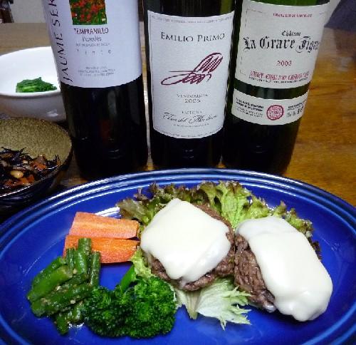 チーズハンバーグと赤ワイン.jpg