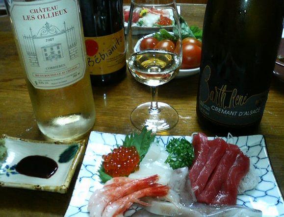 刺身にレゾリューの白ワイン.jpg