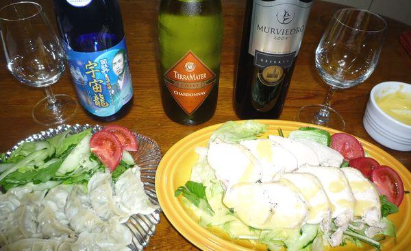 蒸し鶏と餃子リーズナブルワイン.jpg