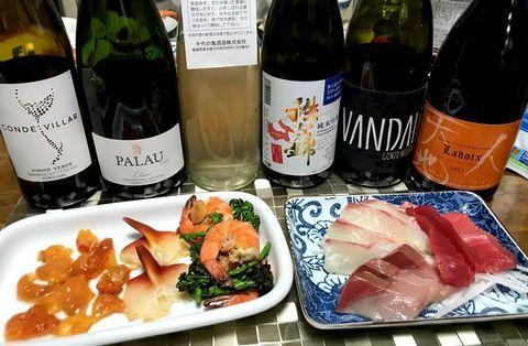 お刺身とワイン、ホヤとお酒.jpg