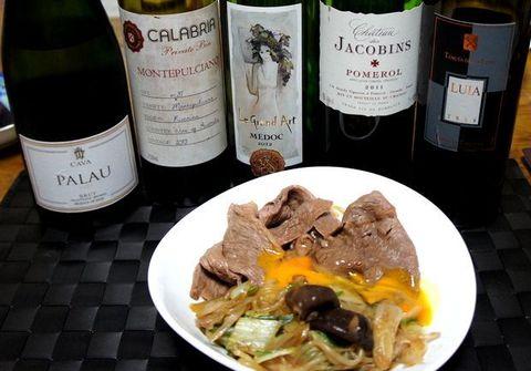 すき焼きとCコースのワイン.jpg