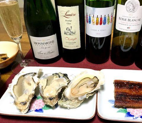 ウナギと牡蠣ワインシャンパン.jpg