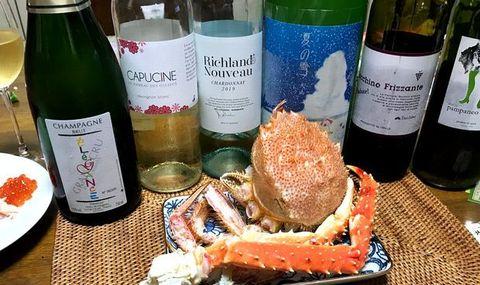 カニとシャンパン、ワインとお酒.jpg
