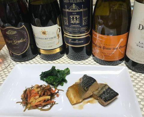 サバの味噌煮とワイン.jpg