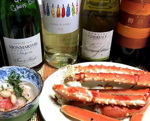サンダルワインと蟹.jpg