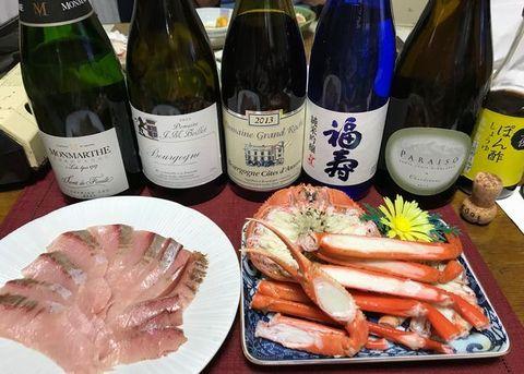 ズワイ蟹とブリシャブ、シャンパン、ワイン、福寿.jpg