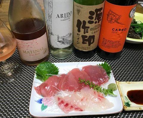 マグロと鯛のお刺身ワイン.jpg