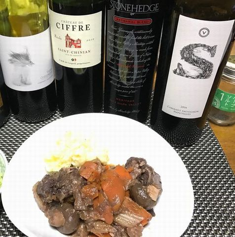 ラム肉の赤ワイン煮込みにワイン2.jpg