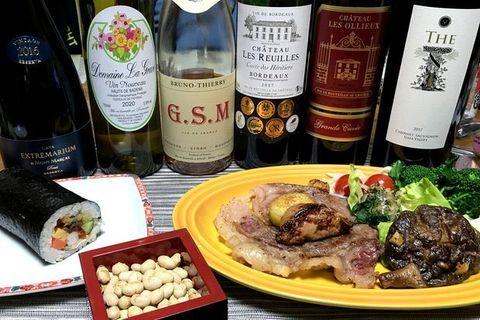前沢肉牛と恵方巻おいしいワイン.jpg