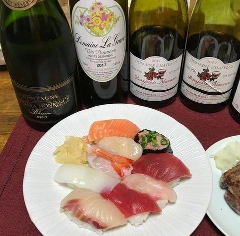 寿司とシャンパン&ヌーボ.jpg