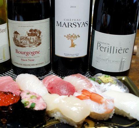寿司とヘビーな赤ワイン.jpg