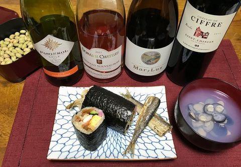 恵方巻きとワイン.jpg
