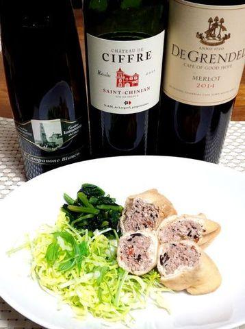 油揚げの肉詰めとワイン.jpg