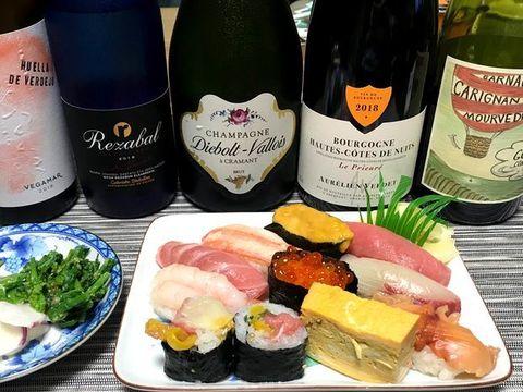 澤寿司さんの特上寿司とワイン.jpg