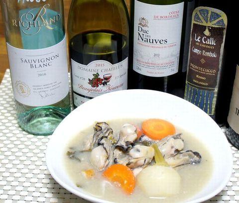 牡蠣鍋とワインボージョレヌーボ.jpg