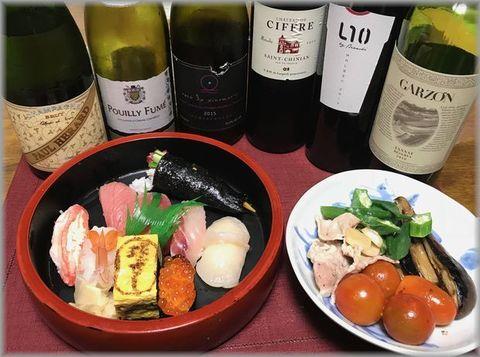 球寿司さんとシャンパン白赤ワイン.jpg