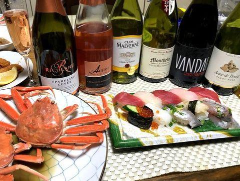 蟹と寿司、ワインのマリアージュ.jpg
