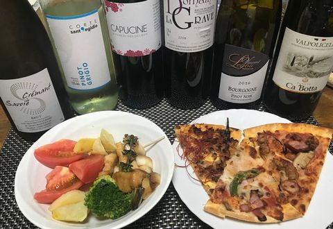 野菜とピッツァ美味しいワイン.jpg
