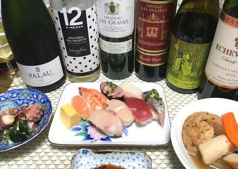 頒布会のワインとお寿司.jpg